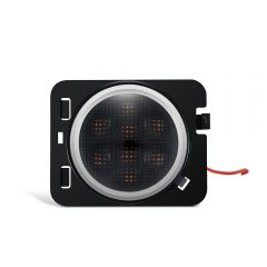 LED Turn Signal Side Marker Fender Lights With White Halo Ring - Smoked Lens