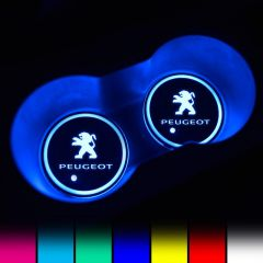 Peugeot Compatible LED Car Coaster With LOGO