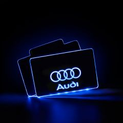 Audi Compatible LED Automobile Floor Mat Glowing Plate