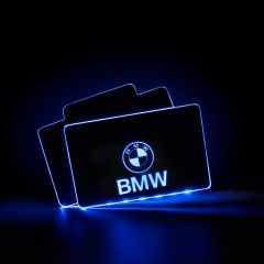 BMW Compatible Illuminated Automobile Floor Mat Plate