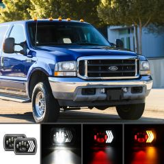 "Ford Compatible H6054 5""x7"" 6""x7"" LED Square Headlight"
