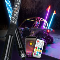 RGB Lighted Antenna 360 Degree Spiral LED Flag Pole Whips With APP Bluetooth Control And Remote Control - Intermediate Version