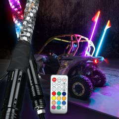 RGB Lighted Antenna 360 Degree Spiral LED Flag Pole Whips With APP Bluetooth Control And Remote Control - Super Version-3ft/0.9cm / Remote control / 1 pcs