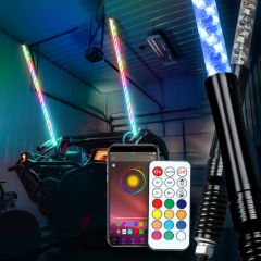 RGB Lighted Antenna 360 Degree Spiral LED Flag Pole Whips With APP Bluetooth Control And Remote Control - Premium Version-6ft/1.8cm / Remote control & Mobile APP bluetooth control / 2 pcs