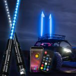 Transparent Tube Multi-Color Double-sided LED Whip Lights Flag Pole With APP Bluetooth Control Or Remote Control