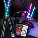 Transparent Tube RGB Double-sided LED Whip Lights Illuminated Flag Pole With APP Bluetooth Control And Remote Control