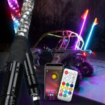 RGB Lighted Antenna 360 Degree Spiral LED Flag Pole Whips With APP Bluetooth Control And Remote Control - Super Version