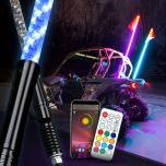 RGB Lighted Antenna 360 Degree Spiral LED Flag Pole Whips With APP Bluetooth Control And Remote Control - Premium Version