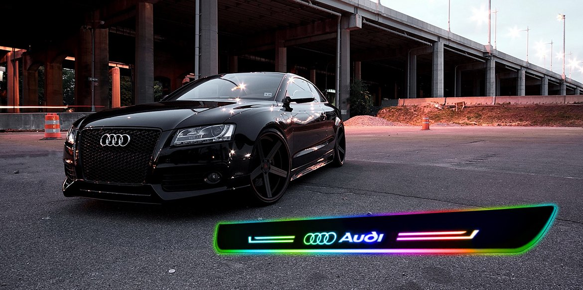 Convenient and handy AA battery-powered LED door sills for your Audi